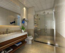 138平三居室新房衛生間玻璃隔斷裝修設計