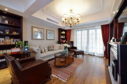 合肥美式風格新房客廳實木地板裝修設計圖賞析
