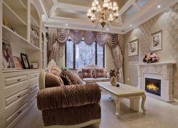 深圳樣板房客廳室內壁爐裝修設計圖片