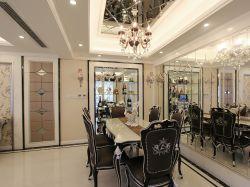 深圳樣板房現代風格餐廳鏡面背景墻裝修圖