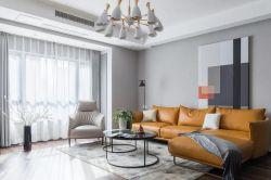 深圳現代風格樣板房客廳黃色沙發裝修圖片