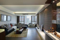 深圳樣板房現代風格客廳轉角沙發裝修效果圖