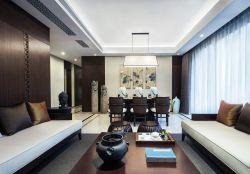 深圳新中式風格樣板房餐廳吊燈裝修圖2019
