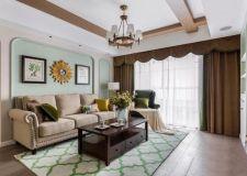 美式风格新房装修案例,客餐厅卧室墙壁设计很漂亮
