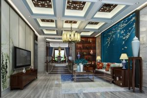 莱蒙水榭山别墅480平新中式风格装修案例
