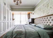 广州美式风格卧室室内背景墙纸装修图赏析