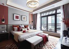 广州新中式风格卧室室内背景墙装修图片