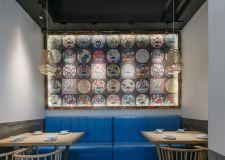 广州特色茶餐厅背景墙装修设计图片2019