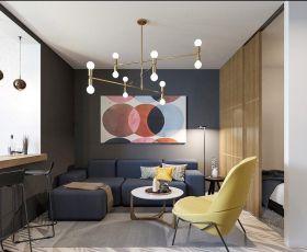 广州小型公寓室内客厅卧室隔断装修图片