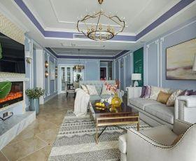 三居126平美式风格客厅家装图片