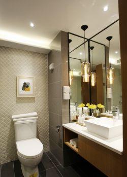 快捷酒店客房卫生间镜面瓷砖装修设计效果图片