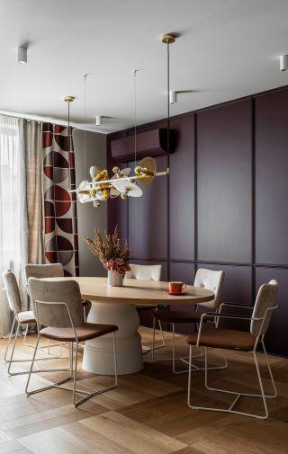 大戶型新房室内餐廳背景牆设计效果圖