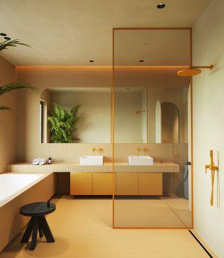 暖色调卫浴间玻璃隔斷设计效果圖