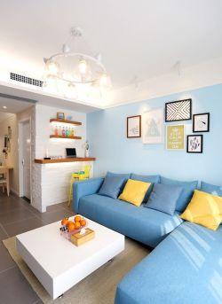 青島簡約風格小戶型客廳藍色沙發圖片