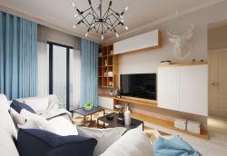 青島小戶型新房客廳電視柜設計效果圖
