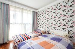 武漢美式風格雙人兒童房壁紙裝飾圖片