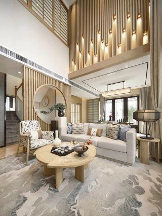 武汉高端別墅日式風格客廳装修设计