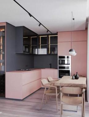 廚房顏色裝修效果圖片 餐廳廚房裝修效果圖  粉色櫥柜效果圖