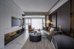 青島樣板房客廳嵌入式電視墻裝修圖片2019