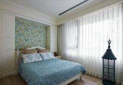 上海美式兩室一廳臥室壁紙裝修圖片