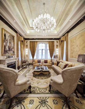 別墅客廳吊頂家裝效果圖 歐式古典別墅客廳效果圖