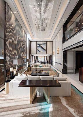 別墅客廳背景墻裝修設計 新中式別墅客廳裝修效果圖