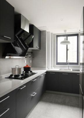 現代廚房裝飾圖 黑色櫥柜圖片