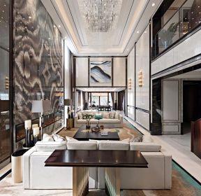 新中式別墅客廳大理石背景墻裝修設計圖-每日推薦