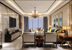 中央城新中式风格140平米四居室装修案例