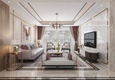 中央城轻奢风格130平米四居室装修案例