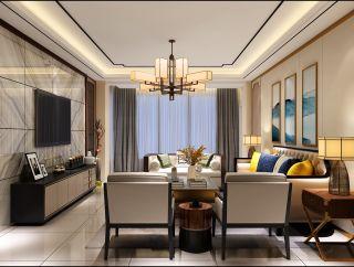 百色中央城新中式风格140平米装修效果图案例