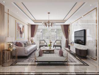 百色中央城轻奢风格130平米装修效果图案例
