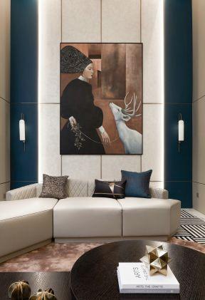復式客廳裝修案例 復式客廳裝修圖 背景墻畫效果圖