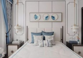 現代中式臥室背景墻 現代中式臥室裝修效果圖 現代中式臥室背景墻圖片