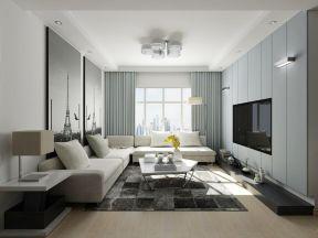 現代簡約客廳設計效果圖 嵌入式電視墻效果圖