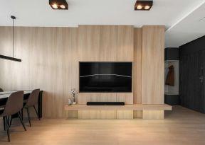 電視墻木質裝修設計 嵌入式電視背景墻