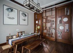 新中式風格別墅茶室隔斷裝修效果圖