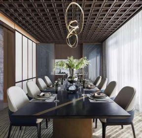 新中式風格大戶型餐廳吊頂裝修效果圖-每日推薦
