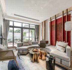 新中式風格別墅客廳沙發裝修效果圖片-每日推薦