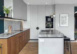 輕奢風格公寓開放式廚房設計裝修圖片