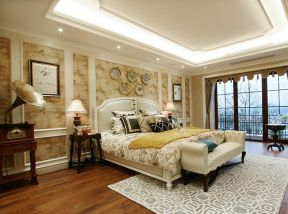 歐式主臥背景墻 歐式主臥室裝修效果圖大全圖片