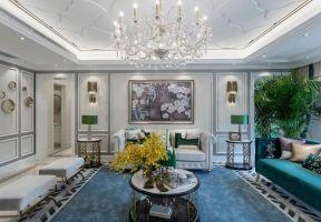 歐式風格客廳吊頂裝修圖片  歐式風格客廳背景墻效果圖