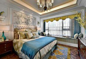 臥室飄窗窗簾裝飾 臥室飄窗窗簾圖  臥室床頭背景墻裝修圖