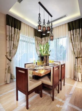 餐廳窗簾裝修設計2019效果圖  東南亞風格餐廳效果圖