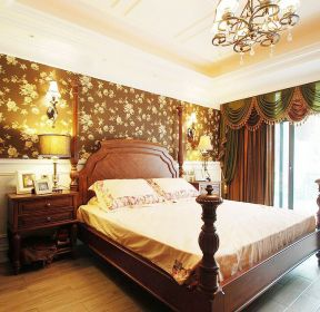 美式古典風格主臥室窗簾裝修效果圖賞析-每日推薦