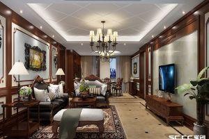 北岸明珠四居126平美式风格装修案例