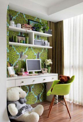 小書桌效果圖 書房背景墻設計