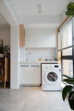 北歐風格生活陽臺洗衣機柜裝修設計圖