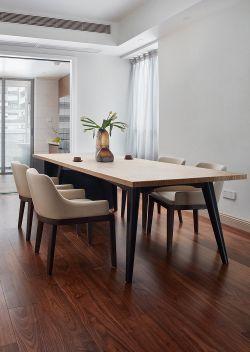 現代簡約餐廳實木地板裝修設計圖