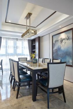 中式風格大戶型餐廳吊燈裝修設計圖片